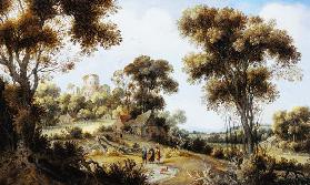 An Extensive Wooded Landscape with Christ on the Road to Emmaus