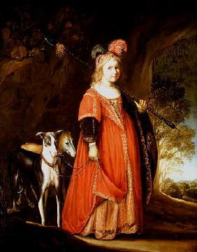 Portrait of a young girl as Diana, in a glade with two greyhounds (oil on canvas)