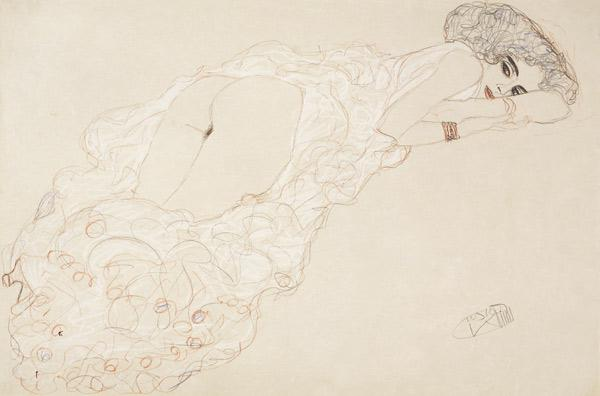 Reclining Nude Lying on Her Stomach and Facing Right