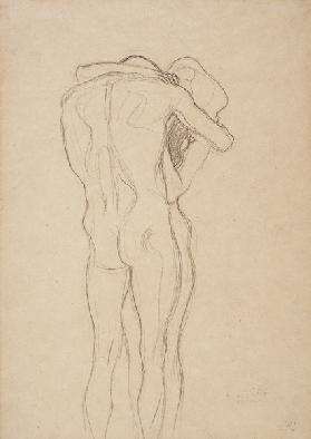 Hugging; standing naked couple