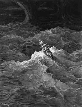 Ship in stormy sea, scene from ''The Rime of the Ancient Mariner'' S.T. Coleridge,S.T. Coleridge, pu