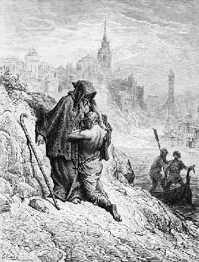 The Mariner begs the Hermit to give him absolution from his sin, scene from ''The Rime of the Ancien