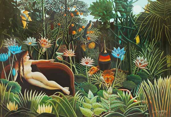 de droom henri rousseau als kunstdruk of als handgeschilderd olieverfschilderij. Black Bedroom Furniture Sets. Home Design Ideas