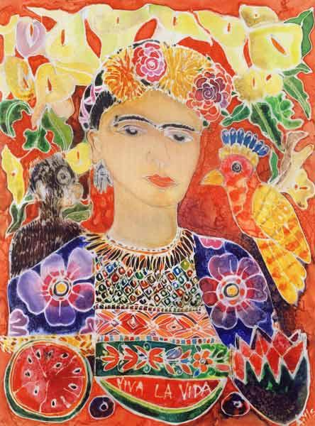 respects to frida kahlo 2002 coloured hilary simon als kunstdruk of als handgeschilderd. Black Bedroom Furniture Sets. Home Design Ideas