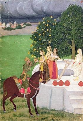A Prince begging water from women at a well, Mughal, c.1720