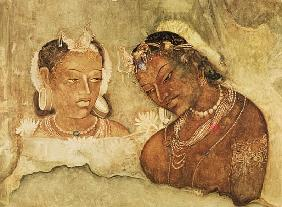 A Princess and her Servant, copy of a fresco from the Ajanta Caves, India