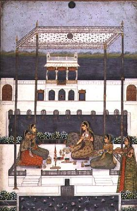Evening party in the garden of a Mughal Palace, Lucknow or Murshidabad, West Bengal