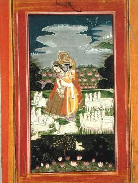 Radha and Krishna embrace in an idealised landscape with cows