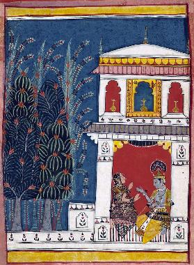 Krishna and a lady in a pavilion
