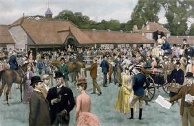 Tattersall's, Newmarket, pub. by I.P. Mendoza, 1890 (photogravure, with hand colouring)
