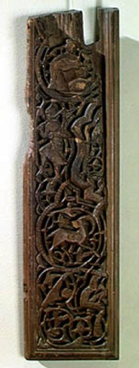 Carved panel decorated with a lute player