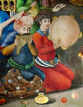 Detail of the musicians, from The Reception for the Ambassador of the Grand Moghul at the Court of t