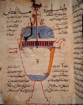 Mechanical device for pouring water, illustration from the 'Treatise of Mechanical Methods', by Al-D