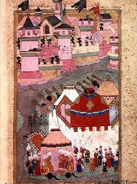 TSM H.1524 Siege of Vienna by Suleyman I (1494-1566) the Magnificent, in 1529, from the 'Hunername'