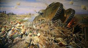 The Capturing of a Tank near Kakhovka, 1927 (oil on canvas)