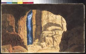 Fingal's Cave. Stage design for the opera Ruslan and Ludmila by M. Glinka