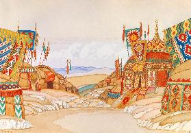 The Polovtsian camp. Stage design for the opera Prince Igor by A. Borodin