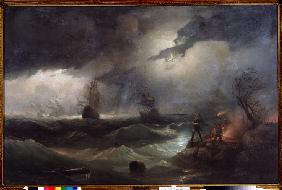Peter I give a beacon to his sink ships at Krasnaya Gorka in 1790
