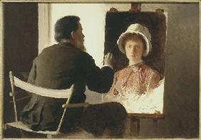 Kramskoy Painting a Portrait of his Daughter
