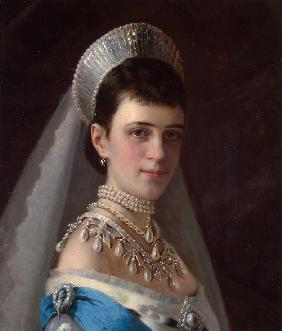 Portrait of Empress Maria Feodorovna, Princess Dagmar of Denmark (1847-1928) with Pearls