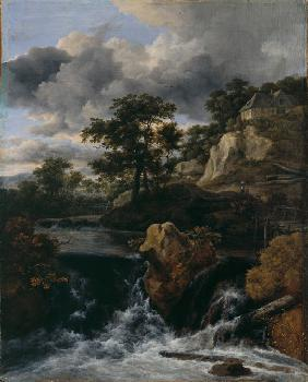 Hilly landscape with a waterfall