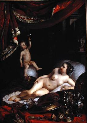 An Allegorical Vanitas with Homo Bulla (Man is Like a Bubble) and Vrouw Wereld (Lady World)