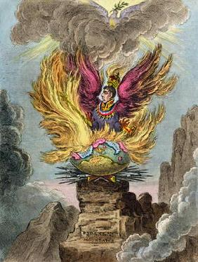 Apotheosis of the Corsican Phoenix, published by Hannah Humphrey in 1808 (hand-coloured etching)
