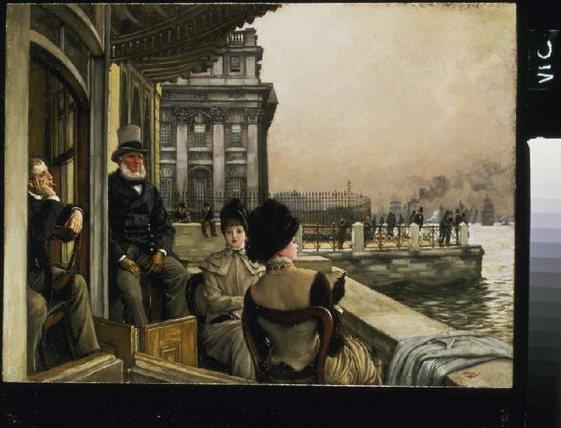 auf der terrasse der trafalgar taverne i james jacques tissot als kunstdruk of als. Black Bedroom Furniture Sets. Home Design Ideas