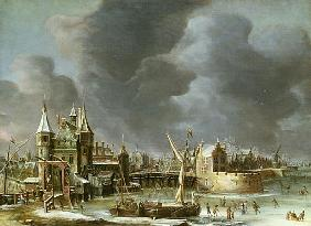 A View of the Regulierspoort, Amsterdam, in winter