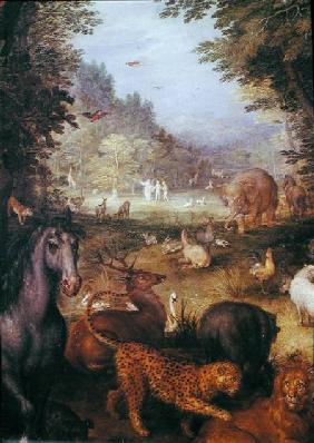 Earth, or The Earthly Paradise, detail of animals
