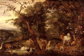 The Garden of Eden; in the background The Temptation (panel)