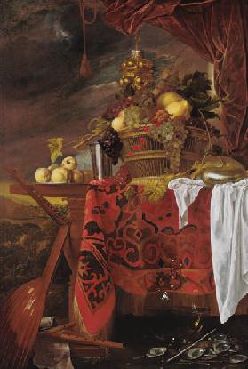 Still Life with Basket of Fruit and Landscape beyond