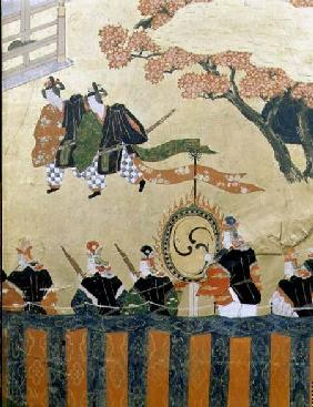 Detail from a four leaf screen depicting two courtiers wearing kazaritachi and soldiers, Tosa School
