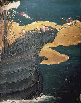 The Arrival of the Portuguese in Japan, detail of ship''s prow, from a Namban Byobu screen, 1594-161
