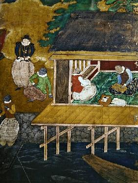 The Arrival of the Portuguese in Japan, detail of a house on stilts, from a Namban Byobu screen, 159
