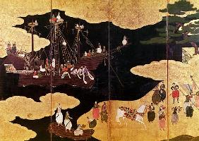 The Arrival of the Portuguese in Japan, detail of the left-hand section of a folding screen, Kano Sc