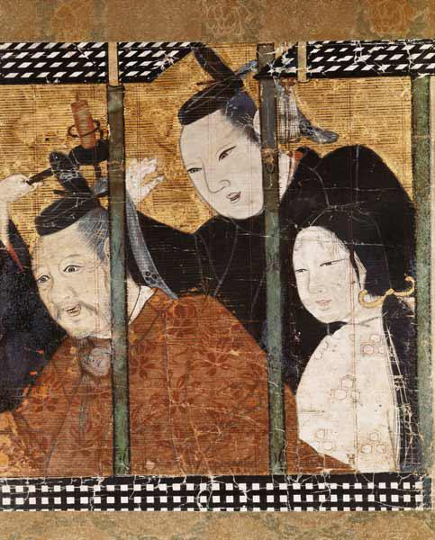 Two men and a woman behind an awning, detail from a screen, 15th-18th century