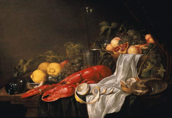 Still life of fruit and a lobster on a cloth-draped table