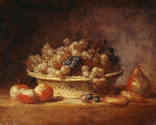 Chardin / Basket of grapes / Painting