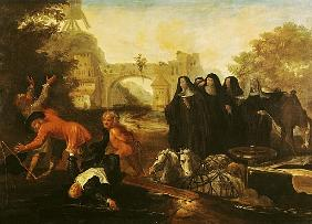 The Abbess of Etival Returning to Le Mans with Four Nuns, from ''Roman Comique'' Paul Scarron (1610-
