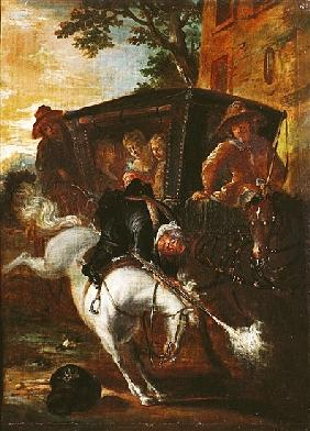 With a Musket on his Back, Ragotin Climbs onto his Horse to Accompany the Troupe, from ''Roman Comiq