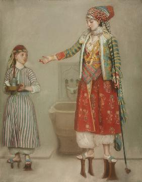 A lady in Turkish costume with her servant at the hammam