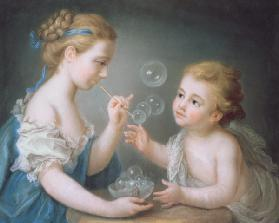 Children blowing bubbles (pastel)