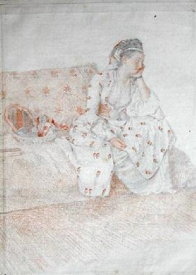 The Countess of Coventry in Turkish Costume (red chalk & pencil on paper)
