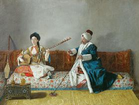 Monsieur Levett and Mademoiselle Helene Glavany in Turkish Costumes
