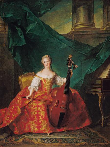 Madame Henriette de France (1727-52) in Court Costume Playing a Bass Viol
