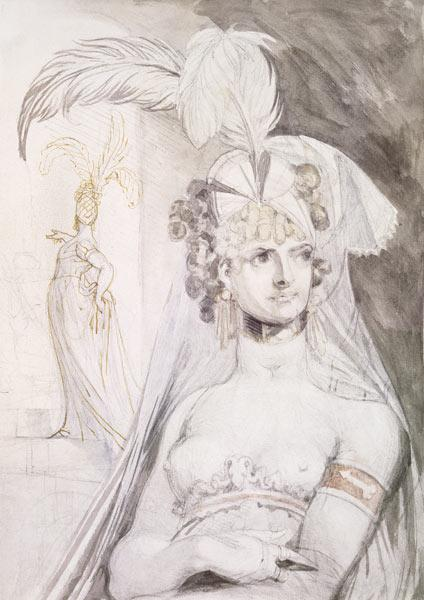 Half Figure of a Courtesan with Feathers, a Bow and a Veil in her Hair, 1800-10 (pencil, w/c and