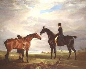 Frank Hall Standish on his Black Hunter with a Groom and a Second Horse