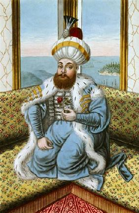 Mehmed II (1432-81) called 'Fatih', the Conqueror, from 'A Series of Portraits of the Emperors of Tu