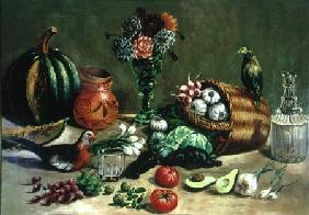 Still life with Pigeon, Parakeet and Vegetables